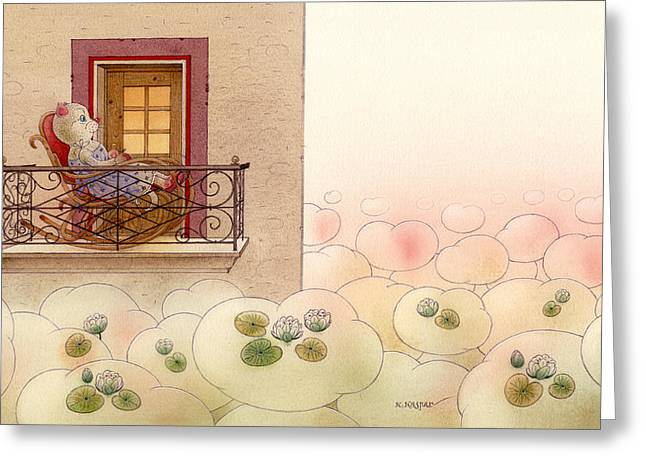 Dreams Drawings Greeting Cards - The Dream Cat 09 Greeting Card by Kestutis Kasparavicius