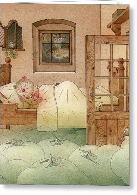 Dreams Drawings Greeting Cards - The Dream Cat 10 Greeting Card by Kestutis Kasparavicius