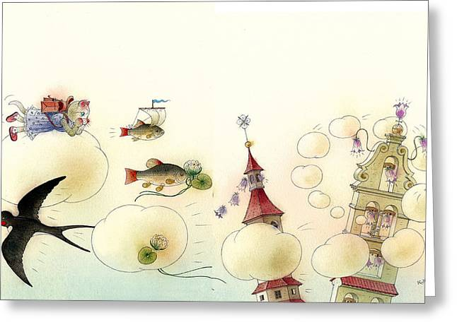 White Drawings Greeting Cards - The Dream Cat 13 Greeting Card by Kestutis Kasparavicius