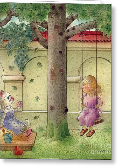 The Dream Cat 14 Greeting Card by Kestutis Kasparavicius