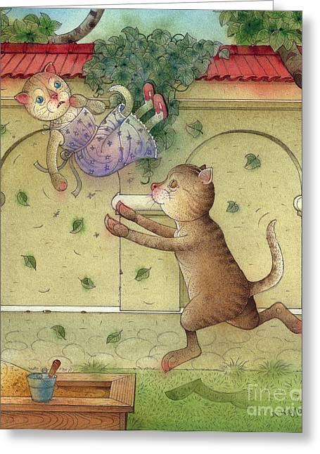 Cat Fantasy Greeting Cards - The Dream Cat 16 Greeting Card by Kestutis Kasparavicius