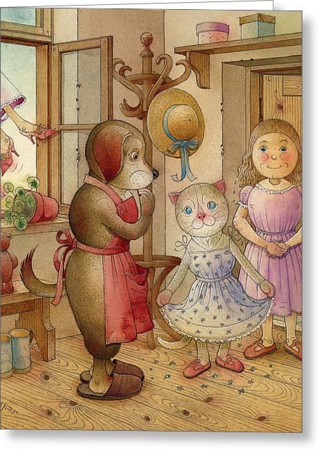 Cat Fantasy Greeting Cards - The Dream Cat 19 Greeting Card by Kestutis Kasparavicius