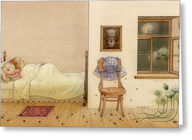 Dreams Drawings Greeting Cards - The Dream Cat 26 Greeting Card by Kestutis Kasparavicius