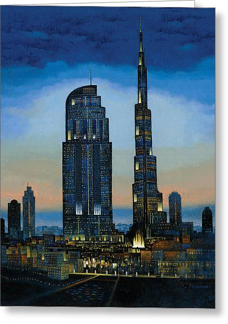 Contemporary Night Scape Greeting Cards - The Dream City Greeting Card by Art Tantra