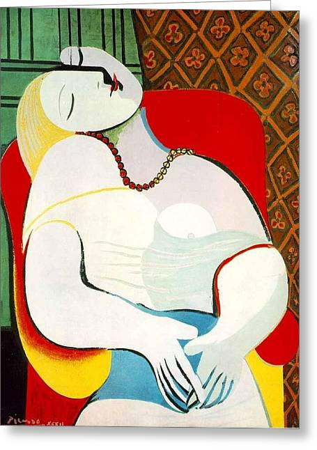 Pablo Picasso Digital Art Greeting Cards - The Dream Greeting Card by Lois Picasso