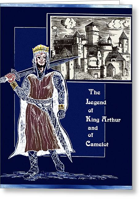 Camelot Drawings Greeting Cards - The Dream Of King Arthur Greeting Card by Hartmut Jager