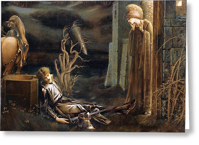Lancelot Greeting Cards - The Dream Of Lancelot Greeting Card by Edward Burne Jones