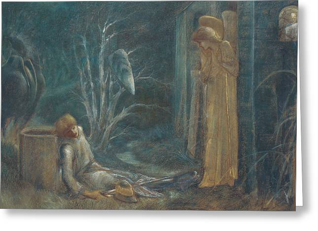 Grail Greeting Cards - The Dream of Lancelot Greeting Card by Sir Edward Burne-Jones