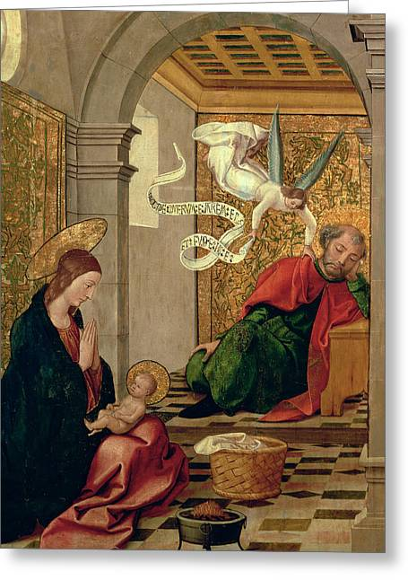 The Dream Of Saint Joseph Greeting Card by Juan de Borgona