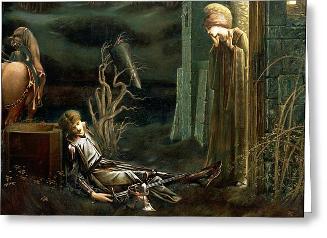 Mist Paintings Greeting Cards - The Dream Of Sir Lancelot At The Chapel Greeting Card by Sir Edward Coley Burne-Jones