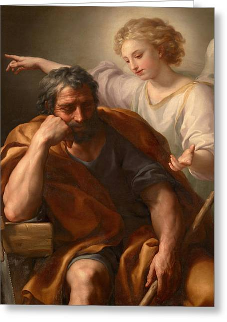 St. Raphael Greeting Cards - The Dream of St Joseph Greeting Card by Anton Raphael Mengs