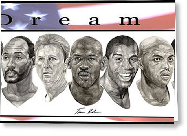 Basketball Paintings Greeting Cards - the Dream Team Greeting Card by Tamir Barkan