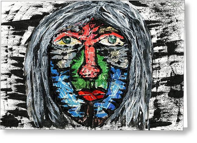 Gray Hair Mixed Media Greeting Cards - The Dreamer Greeting Card by Cosmin Bicu
