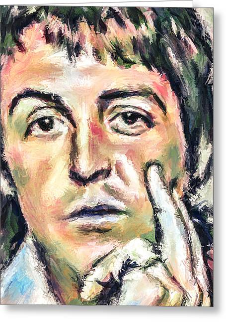 Paul Mccartney Greeting Cards - The dreaming Paul Greeting Card by Yury Malkov