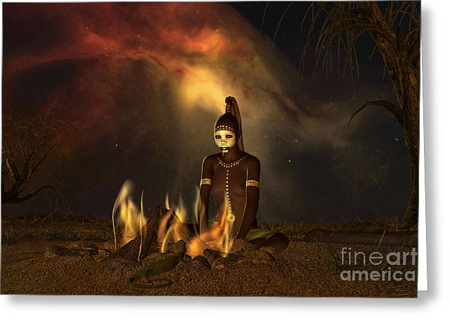 Goanna Greeting Cards - The Dreaming Greeting Card by Shadowlea Is