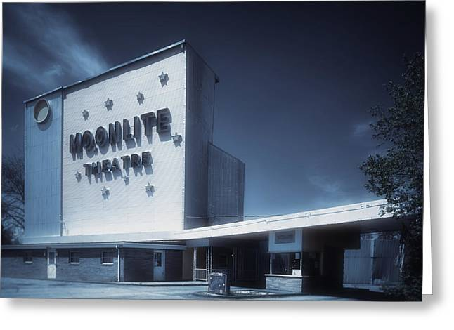 Drive In Theatre Greeting Cards - The Dreamy Moonlite Drive In Theatre Greeting Card by Mountain Dreams