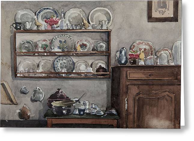 Sideboard Greeting Cards - The Dresser Wc On Paper Greeting Card by Henri Duhem