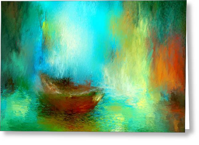 Yellow Sailboats Digital Art Greeting Cards - The Drifter Greeting Card by Patricia Lintner