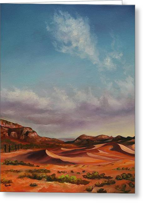 Sand Dunes Paintings Greeting Cards - The Drifters Greeting Card by Eve  Wheeler