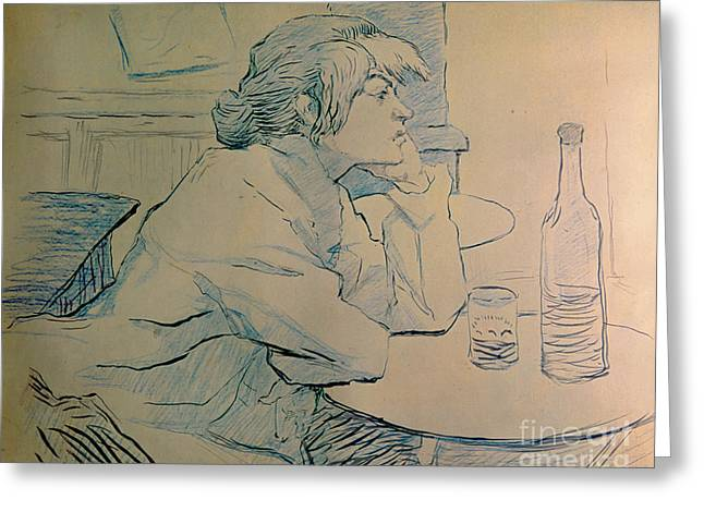 Woman Head Prints Greeting Cards - The Drinker or an Hangover Greeting Card by Henri de Toulouse-lautrec