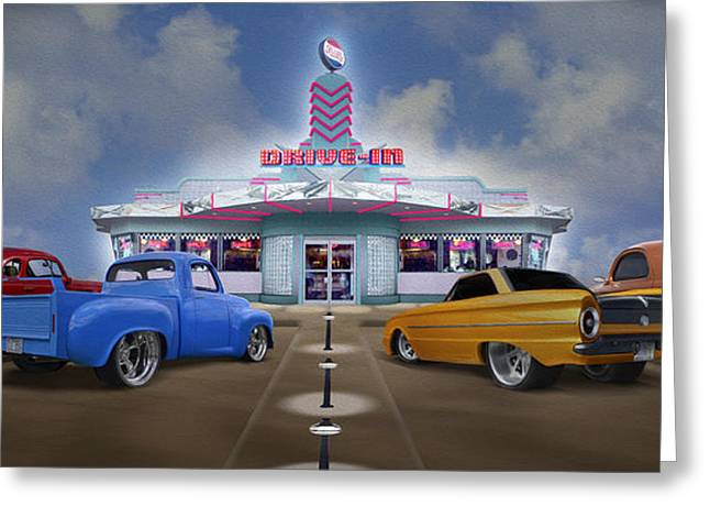 Willys Greeting Cards - The Drive In Greeting Card by Mike McGlothlen
