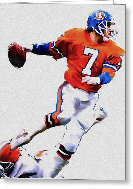 John Elway Football Legend Greeting Cards - The Drive  John Elway Greeting Card by Iconic Images Art Gallery David Pucciarelli