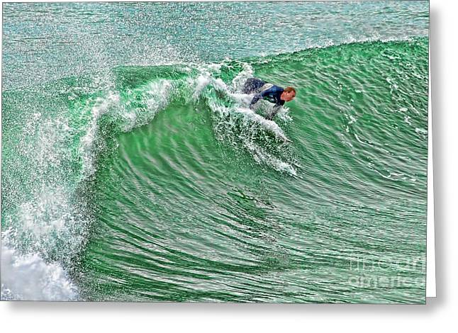 Surfing Photos Greeting Cards - The Drop Greeting Card by Keith Ducker