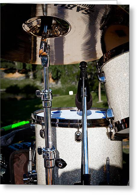 The Kingpins Greeting Cards - The Drum Set Greeting Card by David Patterson