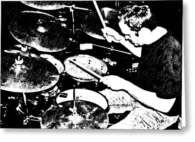 The Drummer Greeting Card by Chris Berry