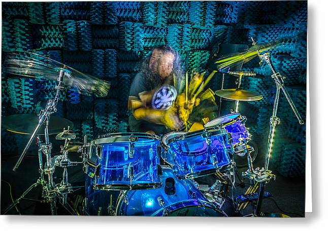 Drummers Photographs Greeting Cards - The Drummer Greeting Card by David Morefield