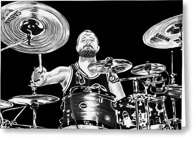 Shiny Drawings Greeting Cards - THE Drummer Greeting Card by Terri Mills