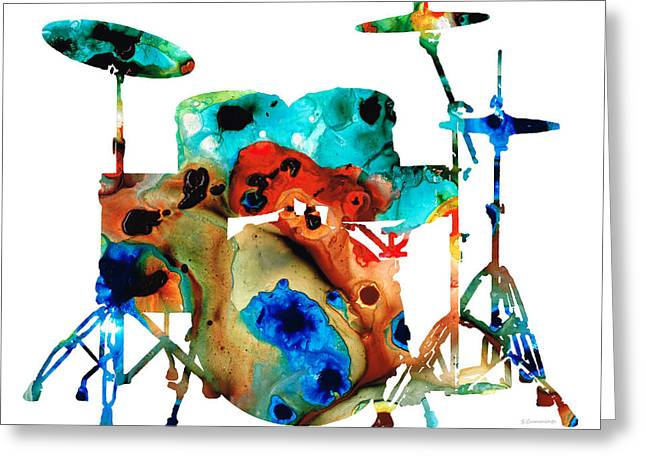 Instruments Greeting Cards - The Drums - Music Art By Sharon Cummings Greeting Card by Sharon Cummings