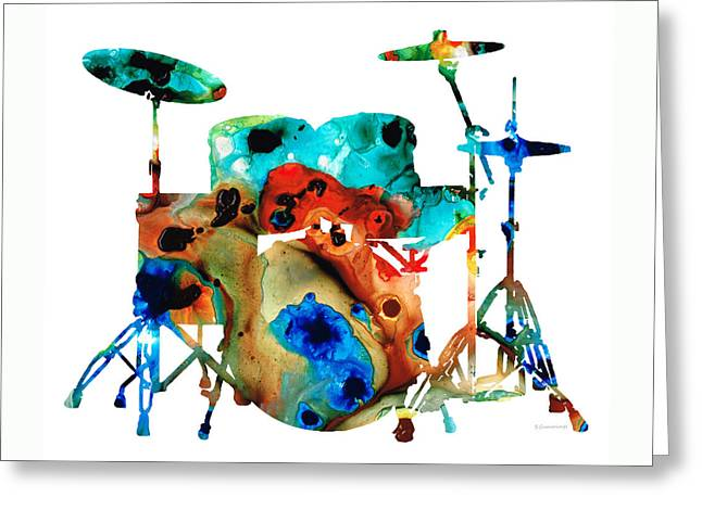 Wall Mixed Media Greeting Cards - The Drums - Music Art By Sharon Cummings Greeting Card by Sharon Cummings