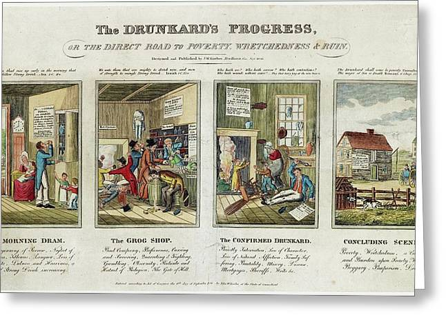 The Drunkard's Progress Greeting Card by Library Of Congress