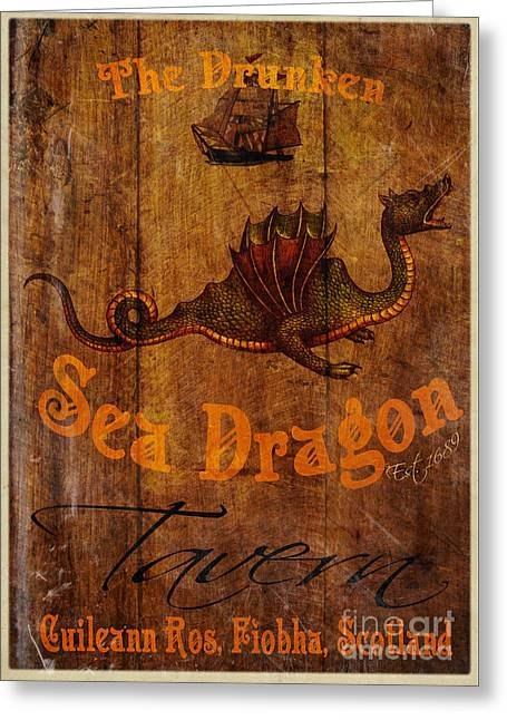 Men Drinking Greeting Cards - The Drunken Sea Dragon Pub Sign Greeting Card by Cinema Photography