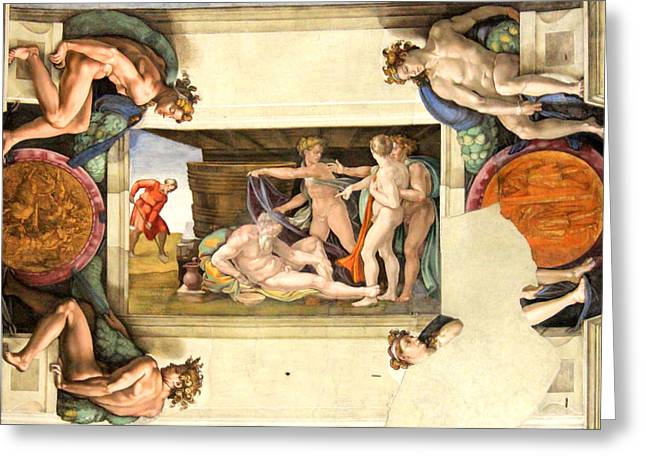 Buonarroti Paintings Greeting Cards - The Drunkenness of Noah Greeting Card by Michelangelo di Lodovico Buonarroti Simoni