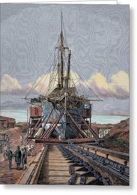 The Dry Dock Barcelona Engraving Greeting Card by Prisma Archivo
