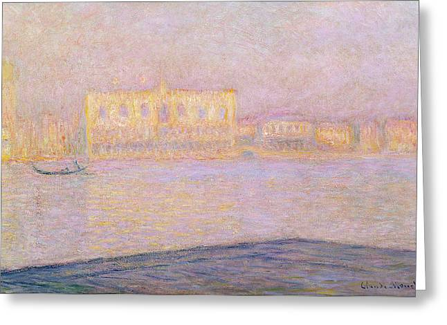 Haze Greeting Cards - The Ducal Palace From San Giorgio, 1908 Oil On Canvas Greeting Card by Claude Monet