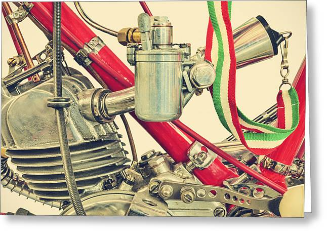 Superbikes Greeting Cards - The Ducati Cucciolo motorcycle II of IV Greeting Card by Martin Bergsma
