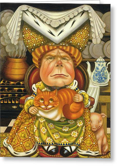 Alice In Wonderland Greeting Cards - The Duchess Oil & Tempera On Panel Greeting Card by Frances Broomfield