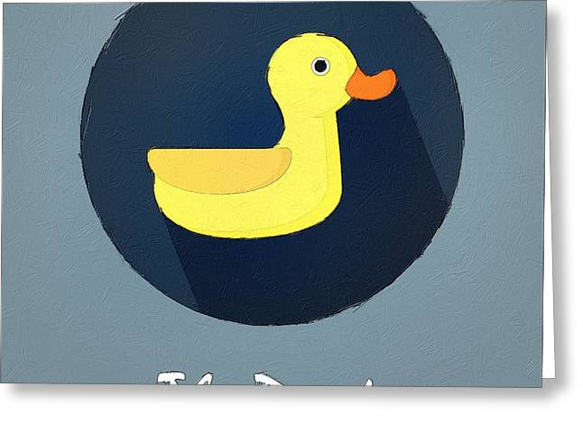 Suburban Posters Greeting Cards - The Duck Cute Portrait Greeting Card by Florian Rodarte