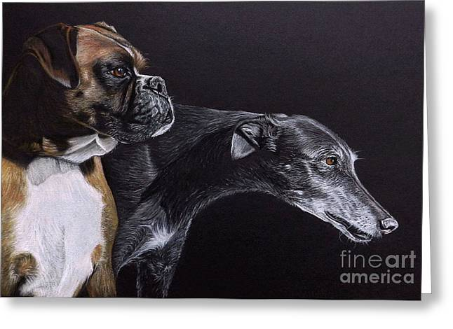 Greyhound Dog Greeting Cards - The Dude and The Diva Greeting Card by Caroline Collinson