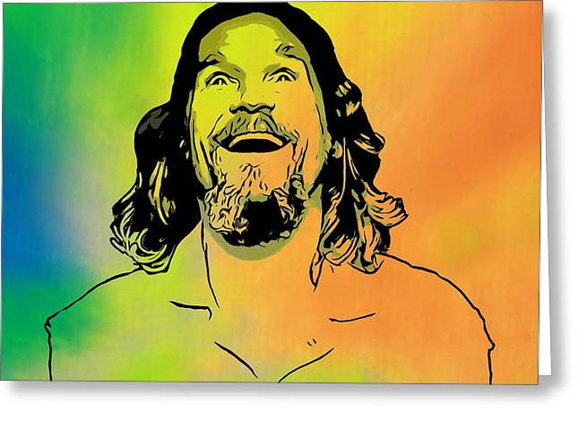 Jeff Mixed Media Greeting Cards - The Dude Pop Art Greeting Card by Dan Sproul