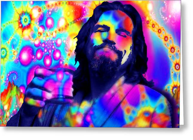 Recently Sold -  - Blue And Green Greeting Cards - The Dude The Big Lebowski Jeff Bridges Greeting Card by Tony Rubino