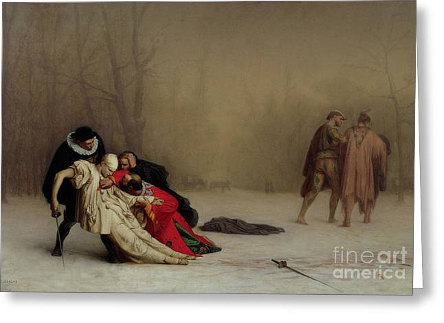Injured Greeting Cards - The Duel after the Masquerade Greeting Card by Jean Leon Gerome