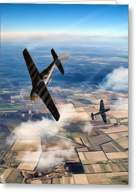 North American Aviation Greeting Cards - The Duel  Greeting Card by Peter Chilelli