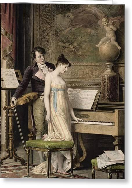Scores Paintings Greeting Cards - The Duet Greeting Card by Karl the Elder Schweninger