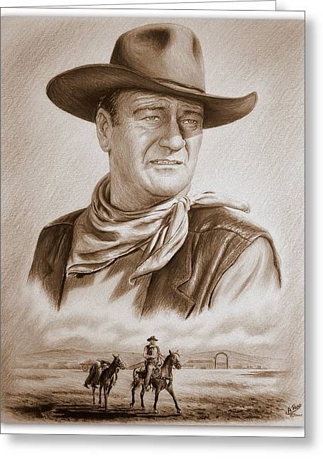 Western Pencil Drawings Greeting Cards - The Duke Captured sepia grain Greeting Card by Andrew Read