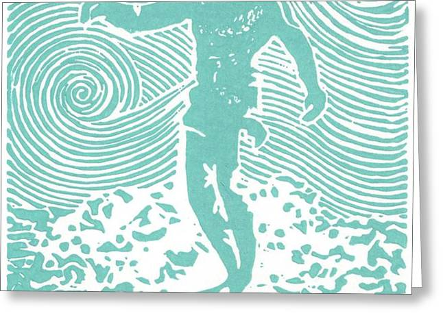The Duke in Aqua Greeting Card by Stephanie Troxell
