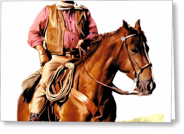 Legend Drawings Greeting Cards - The Duke  John Wayne Greeting Card by Iconic Images Art Gallery David Pucciarelli